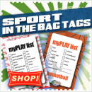 myPLAY Lists from In The Bag Tags- sport packing tags for you backpack and sport bags